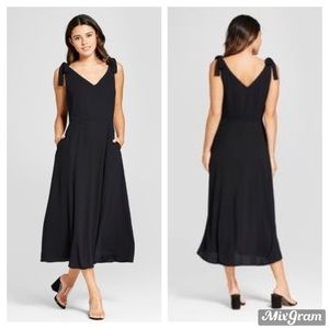 Mossimo for Target Black Tie Shoulder V-Neck Dress
